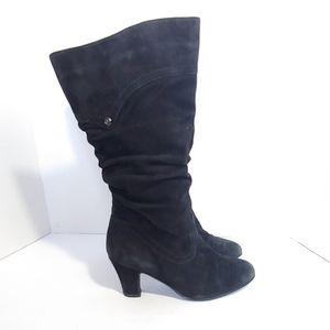 Blondo black suede mid calf heeled boots